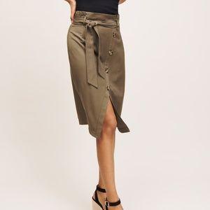 Green Button Front Midi Skirt